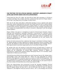 uba positions for pan african banking leadership ... - UBA Plc