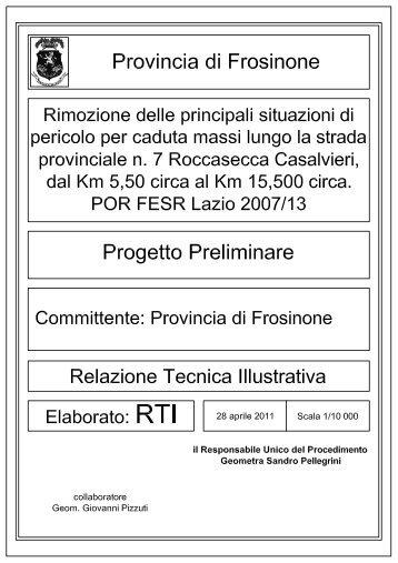 Preliminare - Relazione tecnica - Provincia di Frosinone
