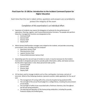 Is 100 A Introduction To Incident Command System Answers