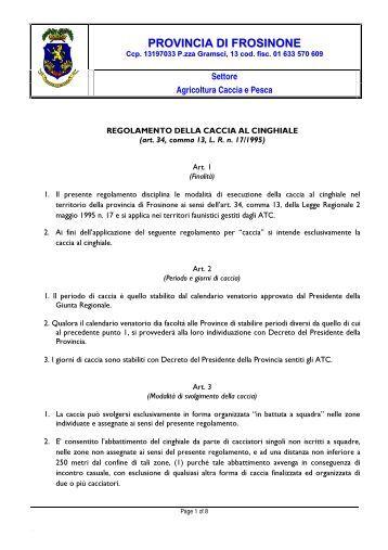 Regolamento per la caccia al cinghiale - Provincia di Frosinone