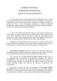 Kazakhstan's Position Paper Regarding Major ... - KazakhstanLive