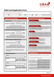 NEW DEBIT CARD APPLICATION FORM - UBA Plc