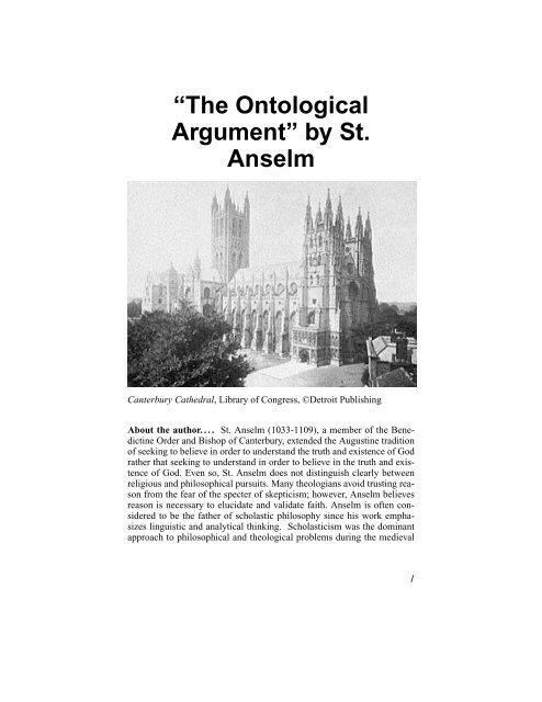 The Ontological Argument By St Anselm Philosophy Landeredu