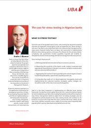 The case for stress testing in Nigerian banks - UBA Plc