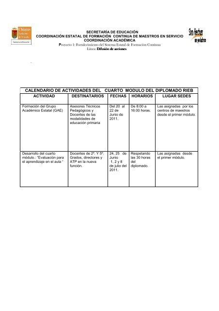 Calendario De Actividades Del E Actividades Del Cuarto