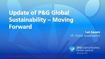 Update of P&G Global Sustainability – Moving ... - P&G Supplier Site