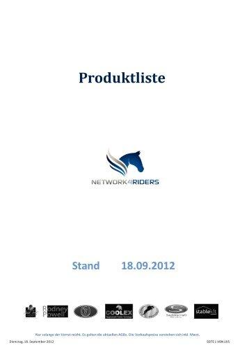 Produktliste Stand 18.09.2012 - Network4riders.com