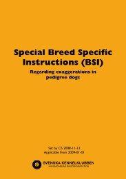 Special Breed Specific Instructions (BSI) - Svenska Kennelklubben
