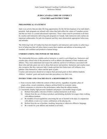 JUDO CANADA CODE OF CONDUCT COACHES ... - Judo Manitoba