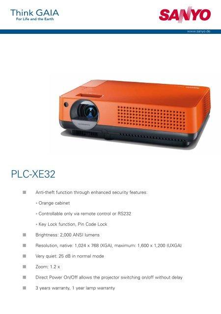 Projector Sanyo PLC-XE32 Datasheet