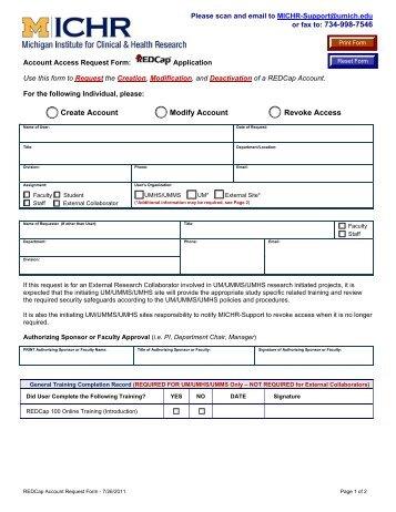 REDCap Account Access Request Form