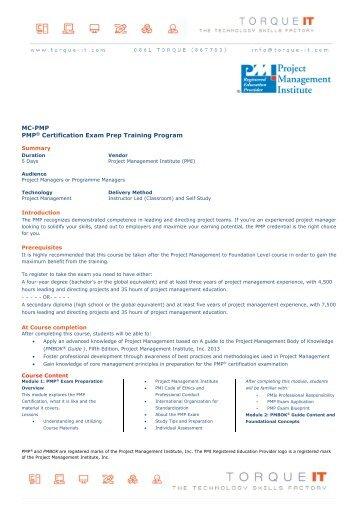 MC-PMP Project Management Professional (PMP)® - Torque IT