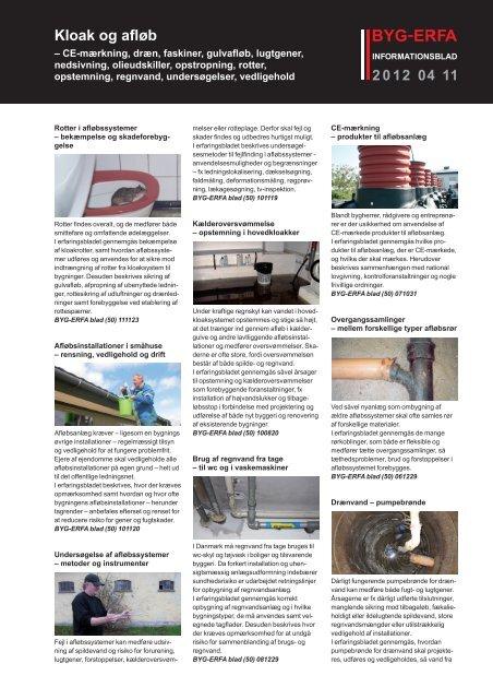 Informationsblad 2012 04 11 Kloak- og afløb - Byg-Erfa