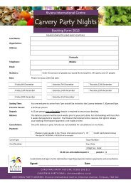 Booking Forms - Riviera International Centre