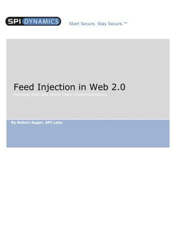 Feed Injection in Web 2.0 - CGISecurity