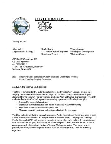 City of Puyallup - EISs for the Proposed Gateway Pacific Terminal ...