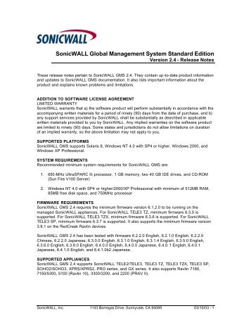 SonicWALL Global Management System Standard Edition