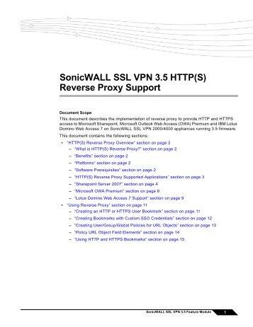SonicWALL SSL VPN 3.5 Reverse Proxy feature module