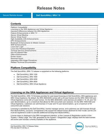Dell SonicWALL SRA 6.0.0.7 Release Notes