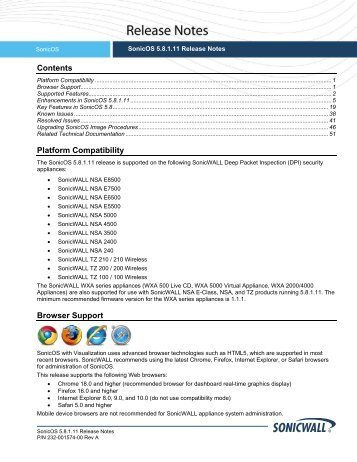 SonicOS 5.8.1.11 Rev A Release Notes - SonicWALL