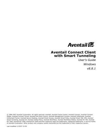 Aventail Connect Client with Smart Tunneling - SonicWALL