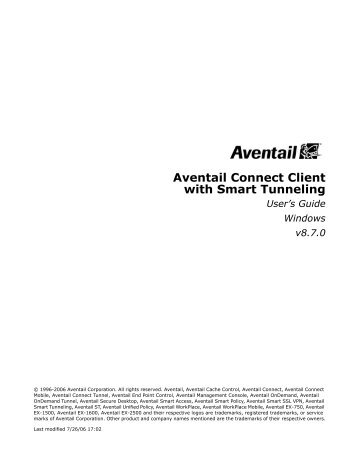Aventail Connect Client with Smart Tunneling User's ... - SonicWALL