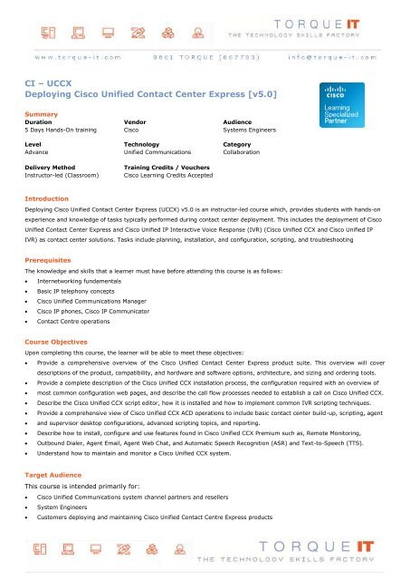 CI – UCCX Deploying Cisco Unified Contact Center     - Torque IT
