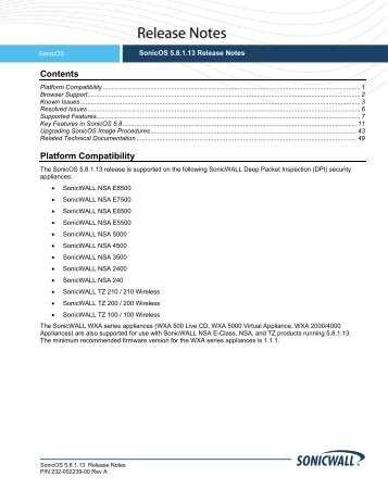 SonicOS 5.8.1.13 Release Notes - SonicWALL