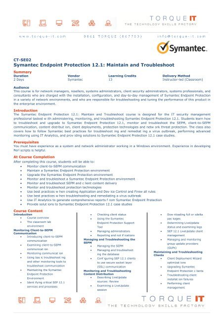 Symantec Endpoint Protection 12 1: Maintain and     - Torque IT