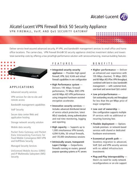 Alcatel-Lucent VPN Firewall Brick 50 Security Appliance