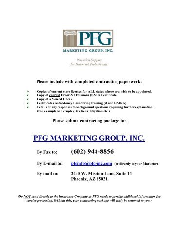 agent/broker agreement - PFG Marketing Group, Inc.