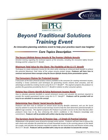 Beyond Traditional Solutions Training Event - PFG Marketing Group ...