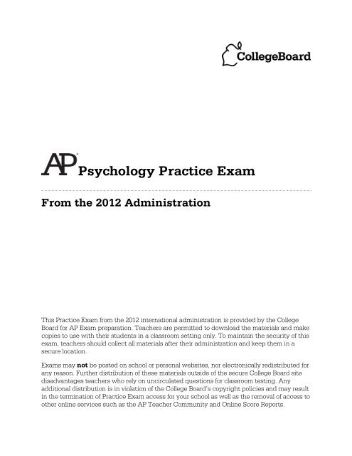 AP Psych Released Exam 2012