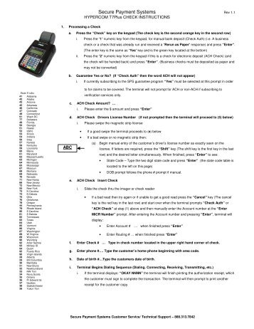Hypercom T7Plus Guide - Secure Payment Systems