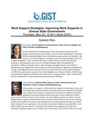 Speaker Bios - GIST: Grantmakers Income Security Taskforce