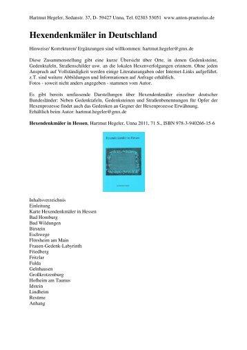 Hexendenkmäler in Deutschland - Anton Praetorius