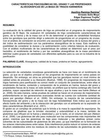 características fisicoquímicas del grano y las propiedades ...