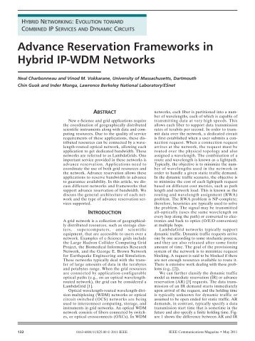 Advance Reservation Frameworks in Hybrid IP-WDM Networks