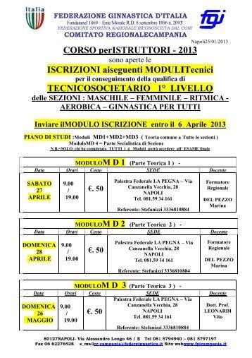 Corsi Tecnici 1 livello 2013 - Comitato Regionale Campania F.G.I.
