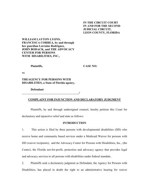 Complaint For Injunction And Declaratory Relief ENR