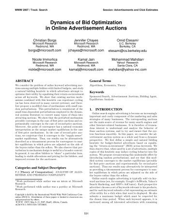 Dynamics of Bid Optimization in Online ... - Conferences