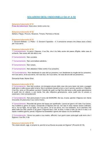 Soluzioni degli indovinelli 51-60 - Risorse Avventiste
