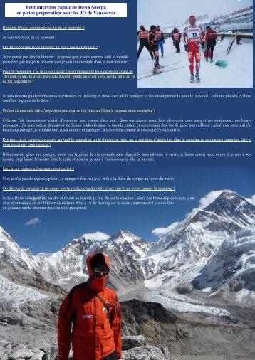 Petit interview rapide de Dawa Sherpa en pleine ... - Nico la Clusaz