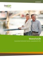 MoneyForLife client brochure - OnePath