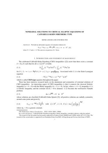 NONRADIAL SOLUTIONS TO CRITICAL ELLIPTIC ... - CAPDE
