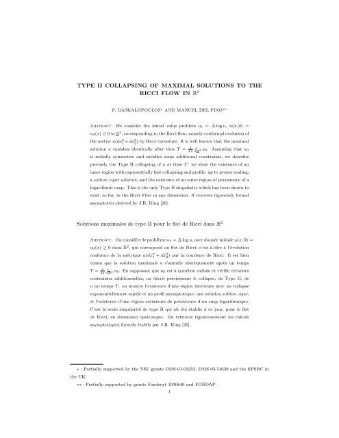 TYPE II COLLAPSING OF MAXIMAL SOLUTIONS TO THE ... - CAPDE