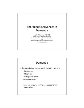 Therapeutic Advances in Dementia Dementia