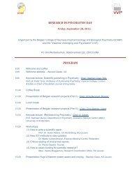 research in psychiatry day program - Vlaamse Vereniging voor ...