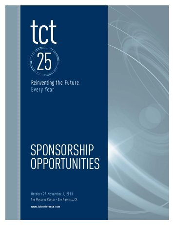 Download the TCT 2013 Sponsorship Opportunities Brochure