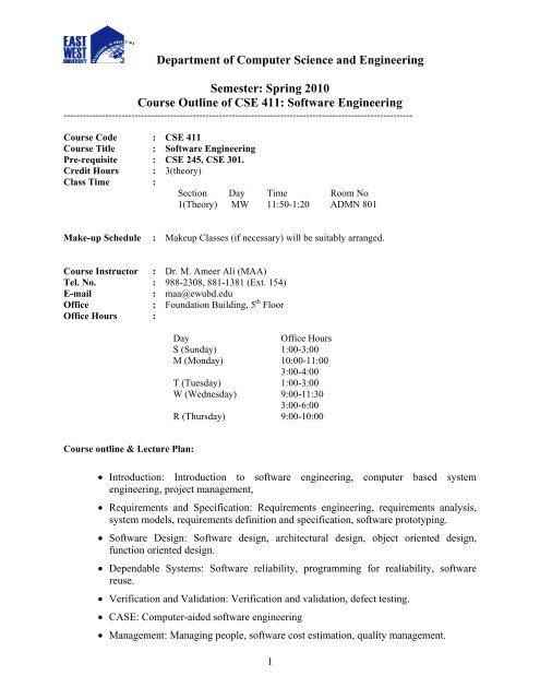 Spring 2010 Course Outline Of Cse 411 Software Engineering